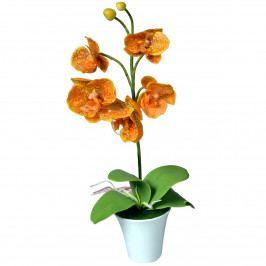 Umelá Orchidea v kvetináči oranžová, 35 cm