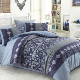 Night in Colours Bavlnené obliečky Valeria modrá/sivá, 140 x 200 cm, 70 x 90 cm