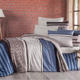 Kvalitex Bavlnené obliečky Delux Stripe modrá, 140 x 220 cm, 70 x 90 cm