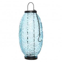Sklenený lampáš Ornaments modrá, 23,5 cm