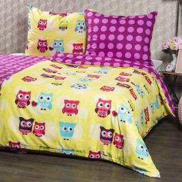 4Home Bavlnené obliečky Sovičky, 140 x 220 cm, 70 x 90 cm