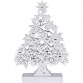 Vianočný drevený stromček Lamezia biela, 10 LED