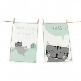 Butter Kings Kuchynská utierka Happy kitty, 70 x 50 cm, sada 2 ks