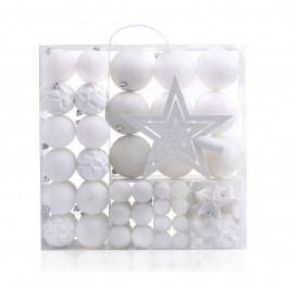 DecoKing Sada vianočných ozdôb Shiny biela, 100 ks
