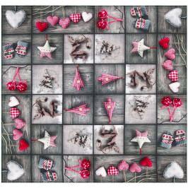 Forbyt Vianočný obrus Ozdôbky patchwork