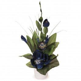 Aranžmá Magnólia v kvetináči modrá, 50 cm
