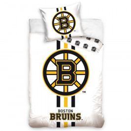 BedTex Bavlnené obliečky NHL Boston Bruins White, 140 x 200 cm, 70 x 90 cm