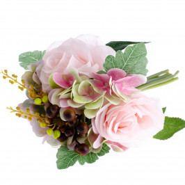 Umelá kytica Ruža s hortenziou svetloružová, 30 cm