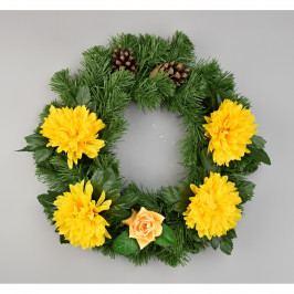 Dušičkový veniec s chryzantémami 30 cm, žltá