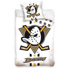 BedTex Bavlnené obliečky NHL Anaheim Mighty Ducks White, 140 x 200 cm, 70 x 90 cm