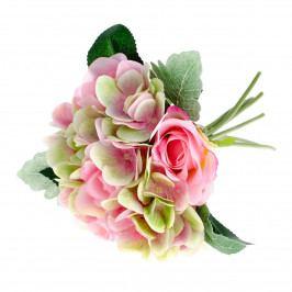 Umelá kytica Ruža s hortenziou ružová, 28 cm