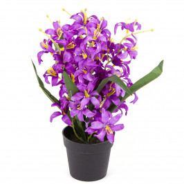 Umelá kvetina Ľalia drobnokvetá v kvetináči fialová, 30 cm