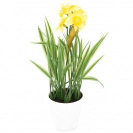Umelá kvetina Narcis v kvetináči žltá, 22 cm