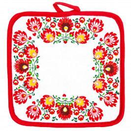 Domarex Kuchynská podložka Folk červená, 20 x 20 cm