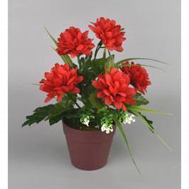 Umelá kvetina Chryzantéma v kvetináči 22 cm, červená