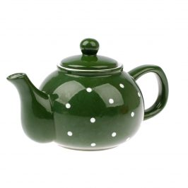 Keramická kanvička na čaj Dots 1 l, zelená