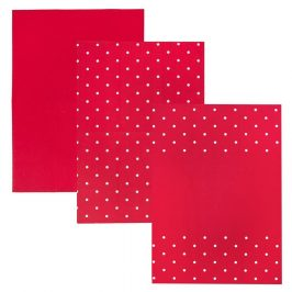 Orion Kuchynská utierka Tečka červená, 50 x 70 cm, sada 3 ks