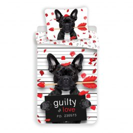 Jerry Fabrics Detské bavlnené obliečky Bulldog Heart, 140 x 200 cm, 70 x 90 cm