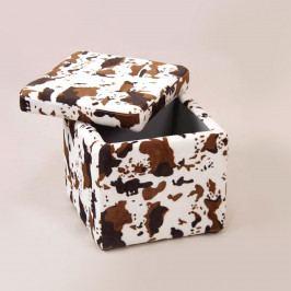 Sedací úložný box biely/hnedý maskovací
