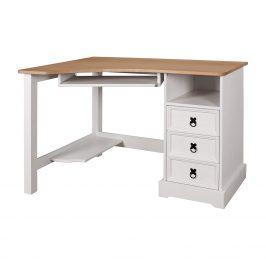 Písací stôl rohový CORONA biely vosk