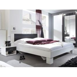 Manželská posteľ 160 cm Verwood Typ 51 (biela + orech) (s noč. stolíkmi)