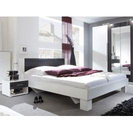 Manželská posteľ 180 cm Verwood Typ 52 (biela + orech) (s noč. stolíkmi)