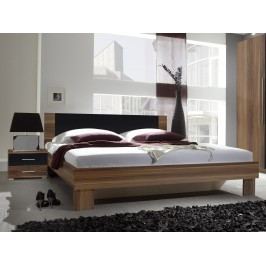 Manželská posteľ 160 cm Verwood Typ 51 (orech + čierna) (s noč. stolíkmi)