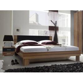 Manželská posteľ 180 cm Verwood Typ 52 (orech + čierna) (s noč. stolíkmi)