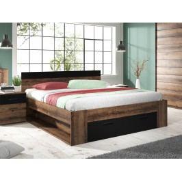 Manželská posteľ 160 cm Benson Typ 91 (dub monastery + čierna)