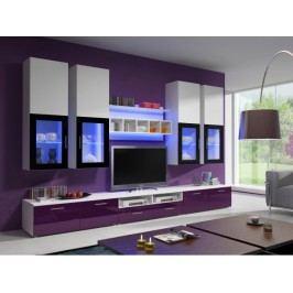 Obývacia stena Aston 1 (biela + fialová) (s osvetlením)
