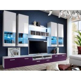 Obývacia stena Aston 2 (biela + fialová) (s osvetlením)