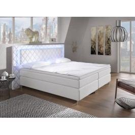 Manželská posteľ Boxspring 160 cm Pius (biela) (s matracmi)