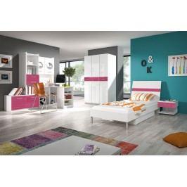 Študentská izba Ruby I (biela + ružová) (s roštom a matracom)