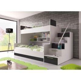 Poschodová posteľ Ruby II (biela + čierna)