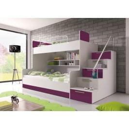 Poschodová posteľ Ruby II (biela + fialová) (s roštom a matracom)