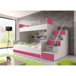 Poschodová posteľ Ruby II (biela + ružová) (s roštom a matracom)
