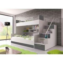 Poschodová posteľ Ruby II (biela + sivá) (s roštom a matracom)