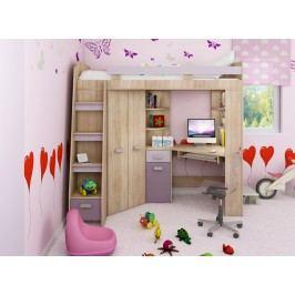 Rohová poschodová posteľ Antresola (L) Sonoma + fialová (s roštom)