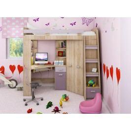 Rohová poschodová posteľ Antresola (P) Sonoma + fialová (s roštom)