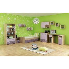 Študentská izba Kitty 3 Sonoma svetlá + fialová