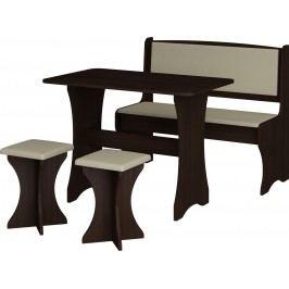 Jedálenský set wenge + ekokoža (s taburetkami) (pre 4 osoby)