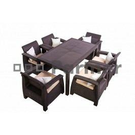 Záhradný nábytok Corfu Lounge Set II. 1+6 hnedá (Umelý ratan) *vankúšiky chrbta ZADARMO