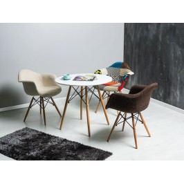 Jedálenský stôl Soho 90x90 (biela + buk) (pre 4 osoby)
