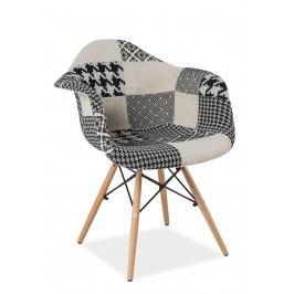 Jedálenská stolička Denis (patchwork sivý)