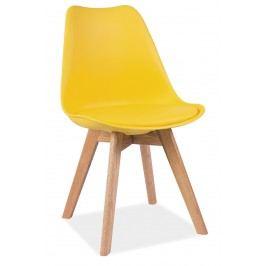 Jedálenská stolička Kris (žltá + dub)