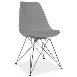 Jedálenská stolička Tim (sivá + chróm)