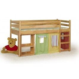 Poschodová posteľ 80 cm Emi Jelša (masív, s roštom a matracom)