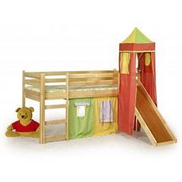 Poschodová posteľ 80 cm Flo Borovica (masív, s roštom a matracom)