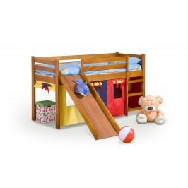 Poschodová posteľ 80 cm Neo Plus Jelša (masív, s roštom a matracom)