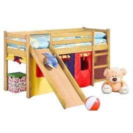 Poschodová posteľ 80 cm Neo Plus Borovica (masív, s roštom a matracom)
